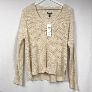 Eileen Fisher open weave V-neck sweater, large